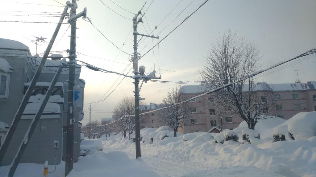 吹雪後の風景(札幌厚別江別の津田整体院・旧にこにこ整体院前の風景)