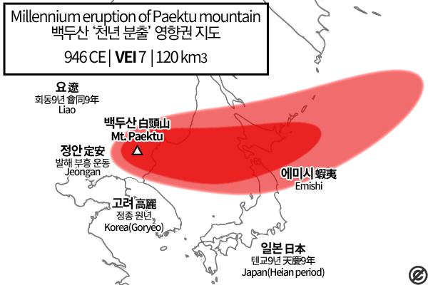 白頭山噴火時の予想落塵図