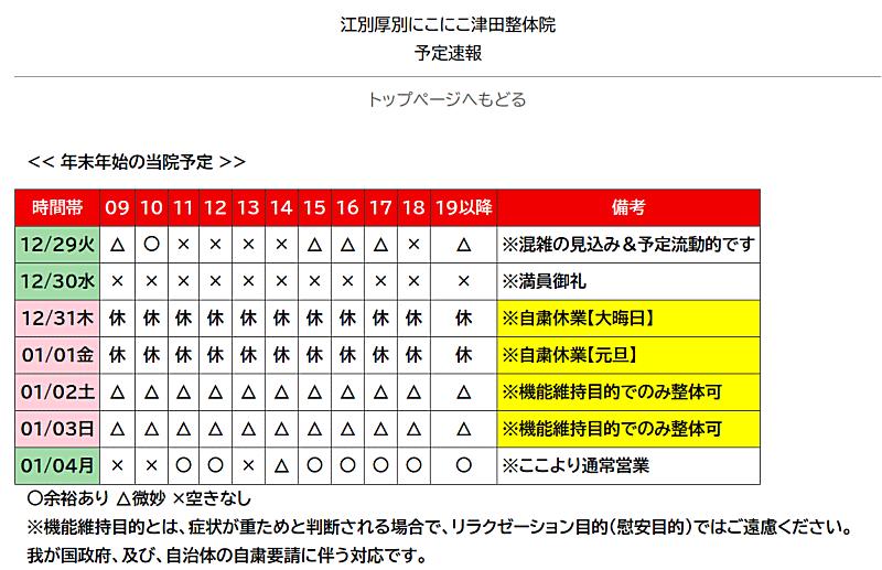札幌厚別江別にこにこ津田整体院予定速報12月30日時点