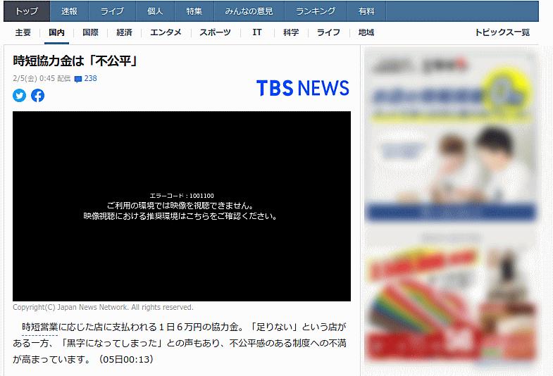 時短協力金1日6万円は「不公平」のニュース記事