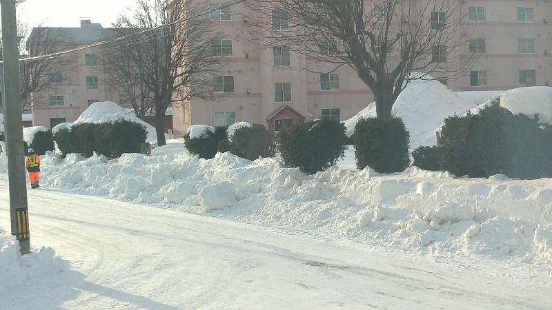 札幌厚別江別にこにこ津田整体院横の道へ集められた雪の様子
